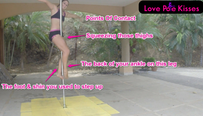 Points of contact for pole sit; thighs, back of right ankle, top of left foot and left shin.