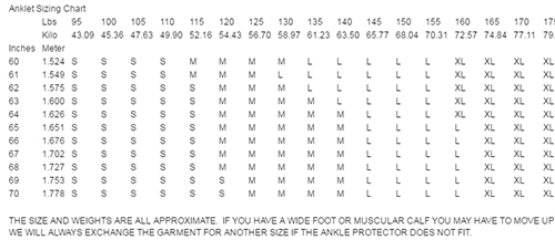 Mighty Grip Anklet Protector Size Chart