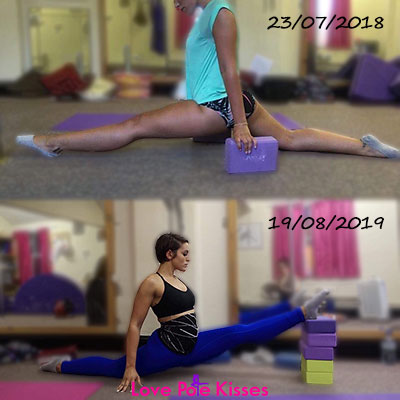 Hannah front split progress